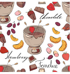 seamless pattern with elements for sweet fondue vector image