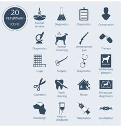 Set veterinary icons number - 20 vector