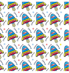 Space rocket galaxy sky travel background vector