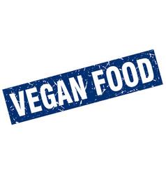 square grunge blue vegan food stamp vector image vector image
