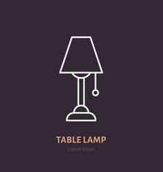 table lamp flat line icon home lighting light vector image