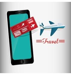 Travel ticket smartphone airplane design vector