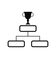 Trophy cup on a prize podium icon vector
