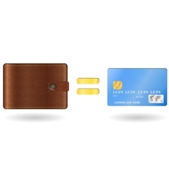 Wallet equal to a credit card vector image vector image