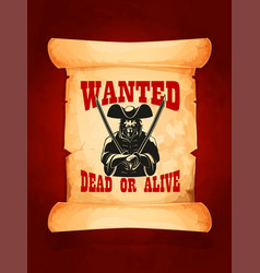 Wanted dead or alive poster vector