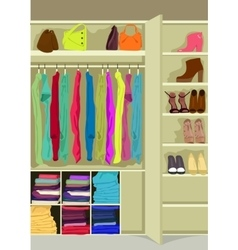 Wardrobe room full of woman s cloths vector