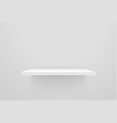 White empty shelf on white wall mockup vector