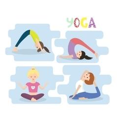 Women yoga exercises yoga poses set vector
