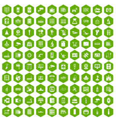 100 hardware icons hexagon green vector