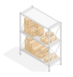 Storage shelves with cardboard boxes vector