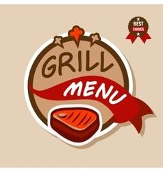 grill menu logo 2 vector image