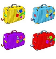 Bright set of suitcases vector image