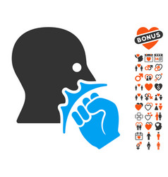 Face violence strike icon with valentine bonus vector