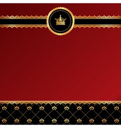 Vintage red background with golden ornamental vector image