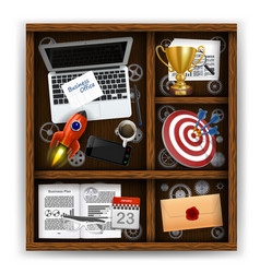 Wooden box with items of business office vector