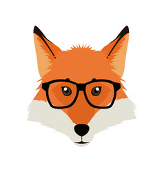 fashion portrait of fox hipster isolated on white vector image