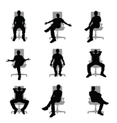 Man silhouette sitting on grey office chair set vector