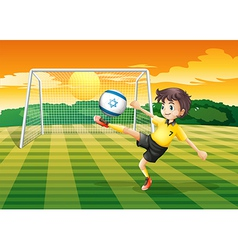 A girl kicking the ball with the israel flag vector