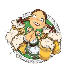 Oktoberfest girl with glass vector