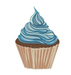 Vintage drawing cupcake vector image