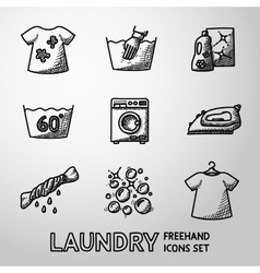 Set of freehand laundry icons with - clean and vector