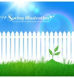 Spring background with growing sprout vector