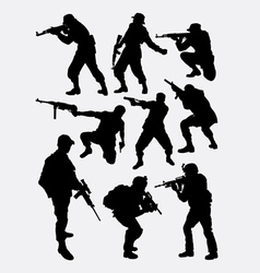 Army soldier pose with gun weapon silhouette vector