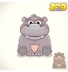 Cartoon hippo character vector