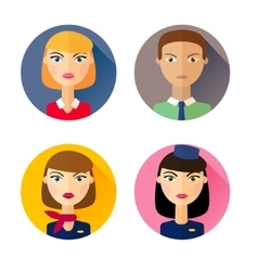 Stewardess set of flat style icons vector