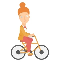 Woman cycling to work vector