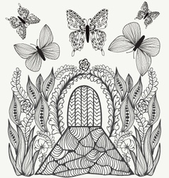 Fantasy picture flowers butterflies and door vector