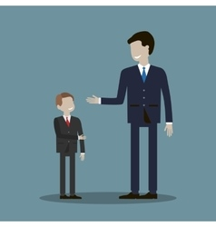 Businessman shakes hands with a child vector