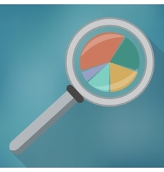 Magnifying glass icon and pie chart vector