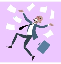 African businessman rejoices luck success vector