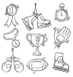 collection of equipment sport doodles vector image