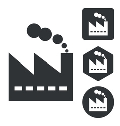 Factory icon set monochrome vector