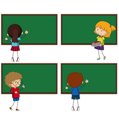 four chalkboards and students vector image vector image