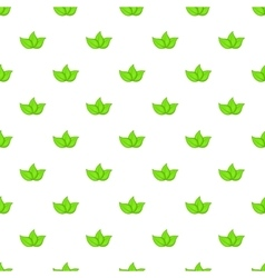 Green leaves pattern cartoon style vector