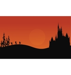 Halloween zombie and castle scary of silhouette vector image vector image