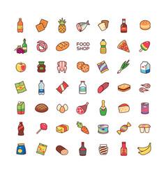 Icons food shop vector
