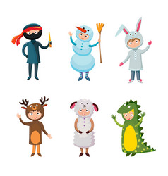 kids different costumes isolated vector image vector image