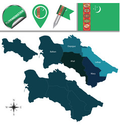 Map of turkmenistan with districts vector