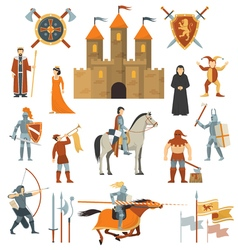 Medieval decorative icons set vector