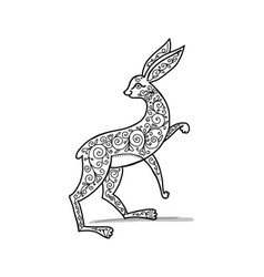 ornate rabbit sketch for your design vector image vector image