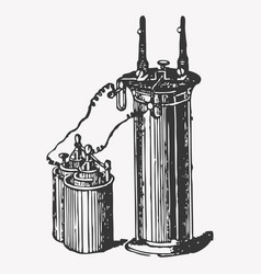 pressure accumulator vintage engraved vector image vector image