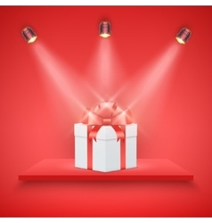 Red Presentation platform and gift box vector image vector image