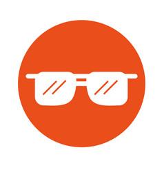 Round icon sunglasses cartoon vector