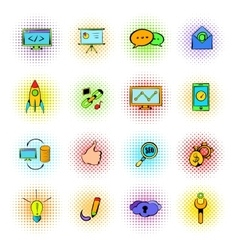 Seo icons comics vector