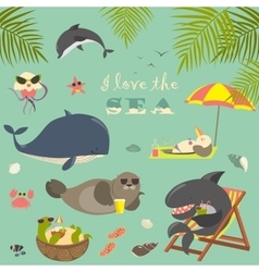 set of cute sea animals on resort vector image vector image