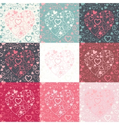 set of seamless pattern with colorful hearts vector image vector image